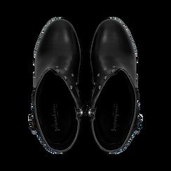Tronchetti neri con dettagli metal, tacco 6 cm, Primadonna, 129315813EPNERO, 004 preview