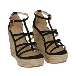 Sandalias de microfibra negra, cuña 12 cm, 172120825MFNERO035, 002a