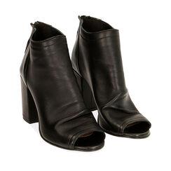 Tronchetti open toe neri in pelle, tacco 9 cm , Primadonna, 17A517014PENERO036, 002a