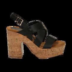 Sandali neri in eco-pelle, tacco in sughero 11 cm, Saldi Estivi, 132173071EPNERO035, 001a