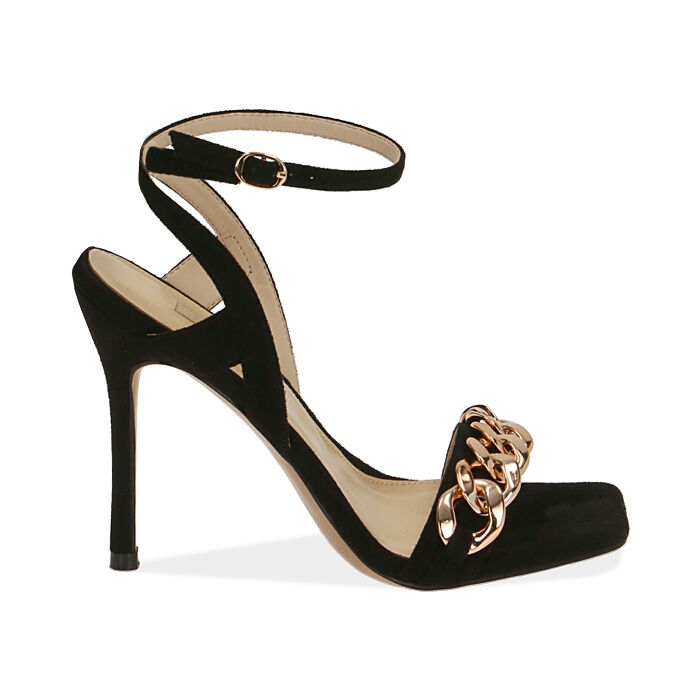 Sandales noires en microfibre, talon de 10,5 cm, Primadonna, 172114221MFNERO036