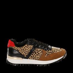 Sneakers leopard marroni in eco-cavallino, Scarpe, 142008377CVLEMA035, 001a