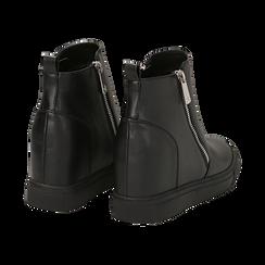 Slip-on nere in eco-pelle, zeppa interna 8 cm, Scarpe, 142008355EPNERO035, 004 preview