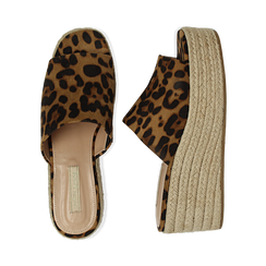 Zeppe platform leopard in eco-pelle, zeppa in corda 7 cm, Primadonna, 132708151MFLEOP036, 003 preview