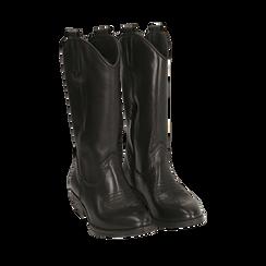 Camperos neri in pelle, tacco 4 cm, 168900060PENERO041, 002a