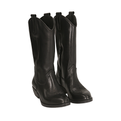 Camperos neri in pelle, tacco 4 cm, Primadonna, 168900060PENERO036, 002a