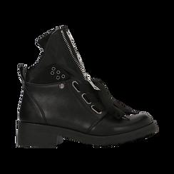 Anfibi Combat Boots neri, tacco basso, Scarpe, 12A782732EPNERO, 001 preview