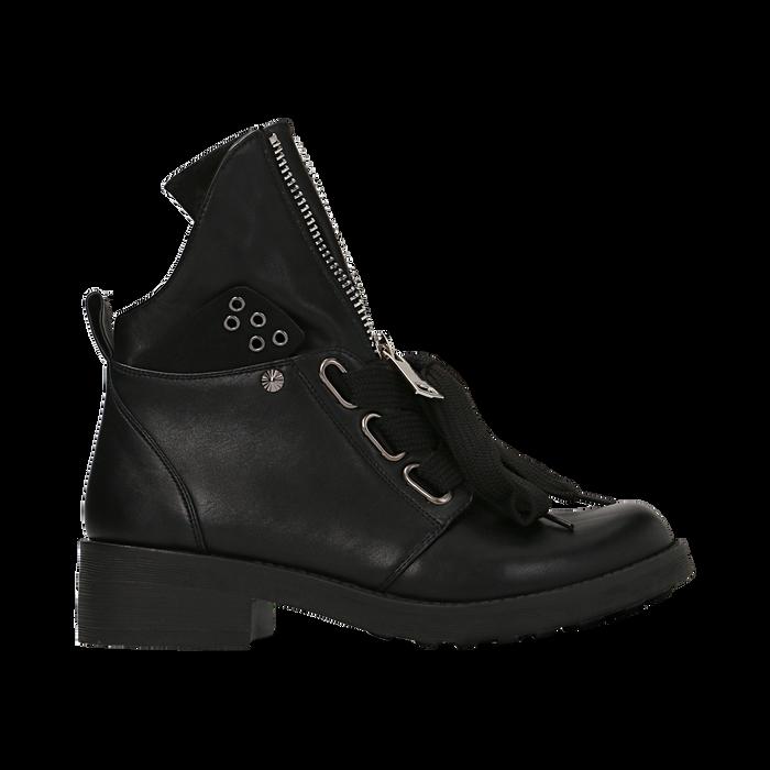 Anfibi Combat Boots neri, tacco basso, Scarpe, 12A782732EPNERO