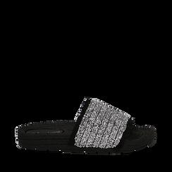 Ciabattine nere in pvc con glitter, Primadonna, 134700004GLNERO038, 001a