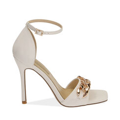 Sandali bianchi con catena, tacco 10,5 cm , Primadonna, 172114211EPBIAN036, 001a