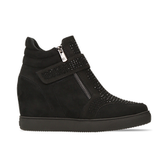 Sneakers nere con zip e chiusura a strappo, Scarpe, 129313816MFNERO, 001 preview