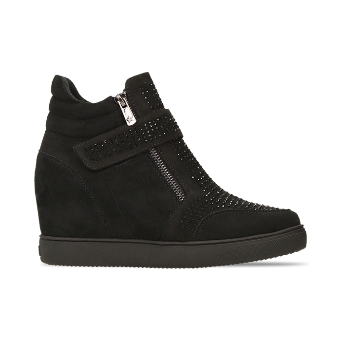 Sneakers nere con zip e chiusura a strappo, Scarpe, 129313816MFNERO