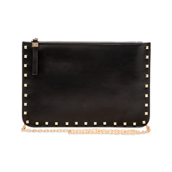 Clutch nera in ecopelle con profilo mini-borchie, Primadonna, 123308330EPNEROUNI, 003 preview