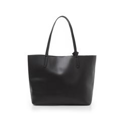 Shopping bag nera in eco-pelle con fiocco decor, Borse, 133782945EPNEROUNI, 003 preview