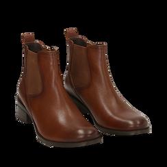 Chelsea boots cuoio in vera pelle, tacco 4,5 cm , Stivaletti, 149495764PECUOI035, 002a