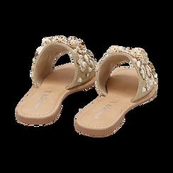 Ciabatte beige in rafia con conchiglie, Scarpe, 15K904446RFBEIG036, 004 preview