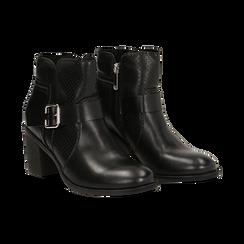 Ankle boots neri in eco-pelle con gambale traforato, tacco 7 cm, Scarpe, 130682987EPNERO037, 002 preview