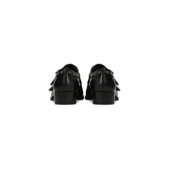 Flat con fibbia nera e borchiette, Scarpe, 129306611EPNERO, 003 preview
