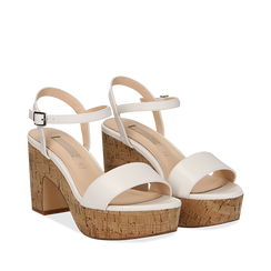 Sandali bianchi in eco-pelle, tacco in sughero 9 cm, Primadonna, 138402256EPBIAN036, 002a