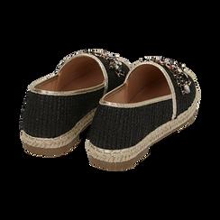 Espadrillas nere in rafia con pietre, Chaussures, 154902098RFNERO, 004 preview