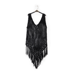 Mini-dress nero con lavorazione macramè, Primadonna, 13A345075TSNEROUNI, 001a
