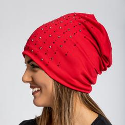 Berretto invernale rosso in tessuto con strass, Saldi Abbigliamento, 12B490741TSROSSUNI, 002