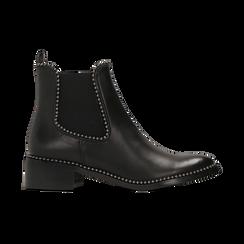 Chelsea Boots neri con mini-borchie, tacco basso, Scarpe, 129309823EPNERO, 001 preview