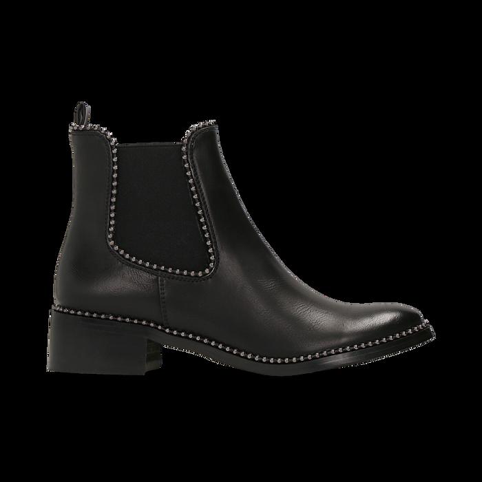 Chelsea Boots neri con mini-borchie, tacco basso, Scarpe, 129309823EPNERO