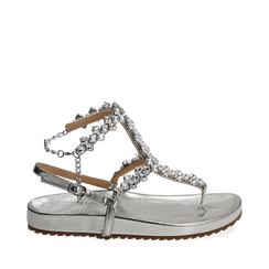 Sandali infradito gioiello argento in eco-pelle laminata, Chaussures, 154951992LMARGE036, 001a