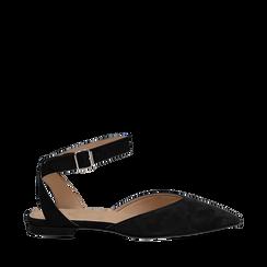 Ballerine nere in camoscio con cinturino alla caviglia, Scarpe, 13D602205CMNERO035, 001a