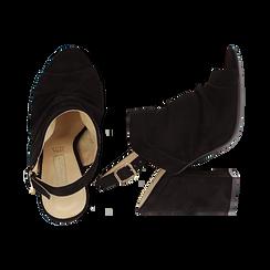Sandali neri in microfibra, tacco chunky 11 cm, Scarpe, 132165652MFNERO036, 003 preview