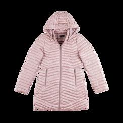 Piumino lungo rosa nude con cappuccio, Saldi, 128500502TSNUDE, 001 preview