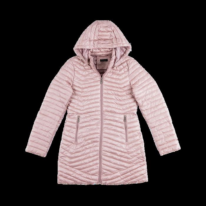 Piumino lungo rosa nude con cappuccio, Saldi, 128500502TSNUDE