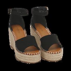 Sandali neri in microfibra, zeppa 9 cm , Chaussures, 154907132MFNERO, 002 preview
