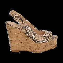Sandali platform beige in eco-pelle, effetto snake skin, zeppa in sughero 12 cm , Primadonna, 134900982PTBEIG, 001 preview