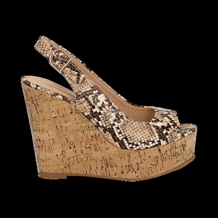 Sandali platform beige in eco-pelle, effetto snake skin, zeppa in sughero 12 cm , Primadonna, 134900982PTBEIG