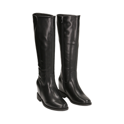 Stivali neri in eco-pelle con zeppa interna, tacco 3 cm , Scarpe, 149721229EPNERO035, 002 preview