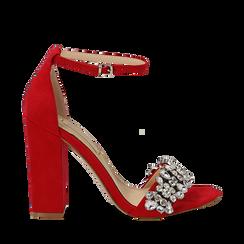 Sandali rossi in microfibra con gemme sulla tomaia, tacco 10,5 cm, Scarpe, 132133794MFROSS035, 001a