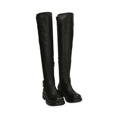 Stivali overknee neri con lavorazione bottalata, Primadonna, 163003615ELNERO036, 002 preview