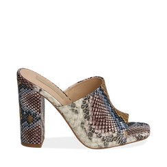 Mules blu/beige in eco-pelle snake print, tacco 10,50 cm, Chaussures, 152709445PTBLBE036, 001a