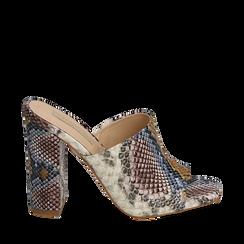 Mules blu/beige in eco-pelle snake print, tacco 10,50 cm, Zapatos, 152709445PTBLBE036, 001a