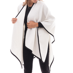 Poncho bianco in tessuto , Abbigliamento, 14B400006TSBIAN3XL, 001 preview