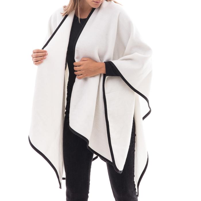 Poncho bianco in tessuto , Abbigliamento, 14B400006TSBIAN3XL