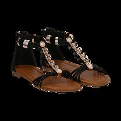 Sandali neri in raso con perle e placche oro, Primadonna, 133601505RSNERO036, 002 preview
