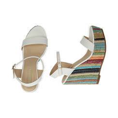 Sandali bianchi in eco-pelle, zeppa 12 cm , Chaussures, 154917229EPBIAN040, 003 preview
