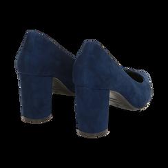Décolleté blu in microfibra, tacco 7,50 cm , Primadonna, 162187081MFBLUE035, 004 preview