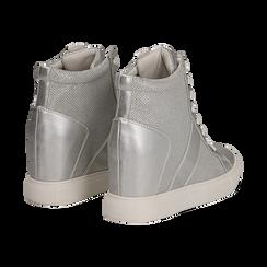 Sneakers argento in tessuto laminato con zeppa, Scarpe, 132005004LMARGE036, 004 preview