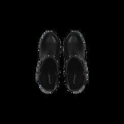 Tronchetti neri con fibbia rettangolare, tacco 4 cm, Scarpe, 123018601EPNERO, 004 preview