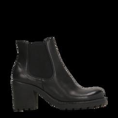 Chelsea Boots neri, tacco medio 7 cm, Primadonna, 120800819EPNERO035, 001a