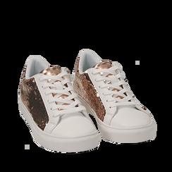 Sneakers oro rosa con paillettes, Scarpe, 152602021PLRAOR035, 002a